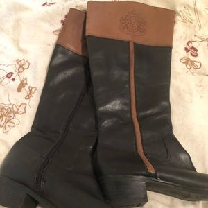 Black and brown rider boots